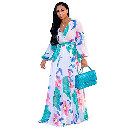 Nuofengkudu Womens See-Through Deep V Neck Printed Floral Maxi Dress Lining Dresses Hem High Waisted Plus Size (White)