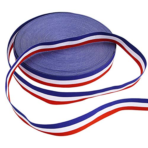 Medal Ribbon - Livder Stripes Fabric Grosgrain Ribbon for Badge Medal Patriotic and Gift Wrapping, 1 Inch, 50 Yard (Blue/Red/White)