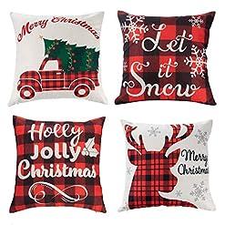Christmas Farmhouse Home Decor JOYIN Christmas Buffalo Plaid Pillow Covers with Rustic Farmhouse Design (4 Pack), 18×18 Inch Christmas Throw Pillow… farmhouse christmas pillow covers
