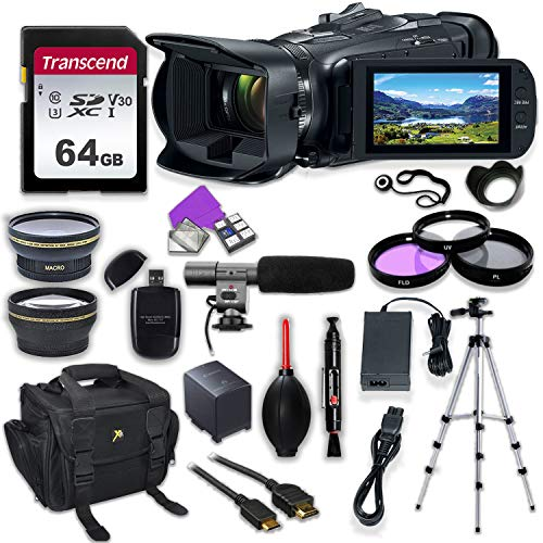 (Canon Vixia HF G50 UHD 4K Camcorder with Premium Accessory Kit Including Padded Bag, Microphone, Filters & 64GB High Speed U3 Memory)