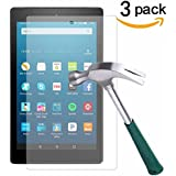 Fire HD 8 Screen Protector,TANTEK Anti Scratch,Bubble Free,Tempered Glass Screen Protector for Amazon Fire HD 8 (6th Gen-2016),[3-Pack]