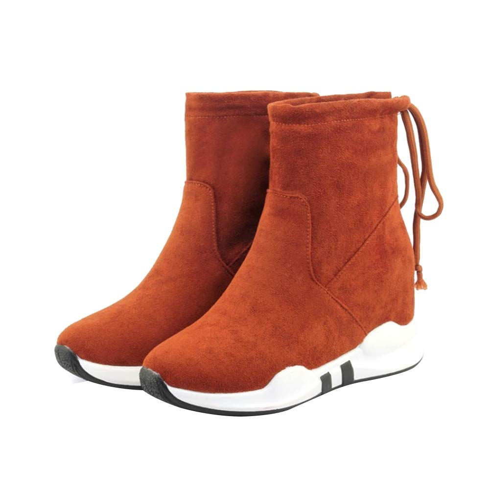 De las mujeres Cabeza redonda Fondo plano plano plano Cuña Medias botas Ante Zapatillas Mantener caliente Botines Plataforma impermeable Diario Botas (altura del talón: 2.5cm) eeb7e0