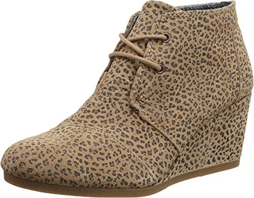 Toms Desert Wedge Cheetah Suede Printed 9.5 Womens Shoes