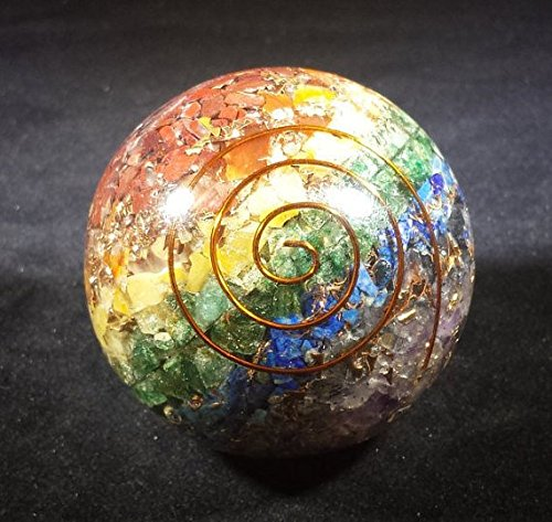 [A&S Crystals] HUGE (60-65mm) 7 CHAKRA Layered Orgone Gemstone Sphere Extra Large Sphere Orgonite