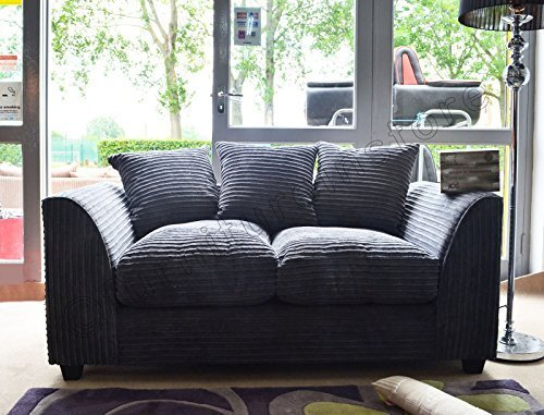 Dylan Byron Grey Fabric Jumbo Cord Sofa Settee Couch 2 Seater by Dylan