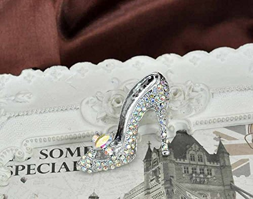1pc Cinderella's Glass Slipper Sexy Young Lady Crystal High Heel Design Brooch Pin - AB Crystal