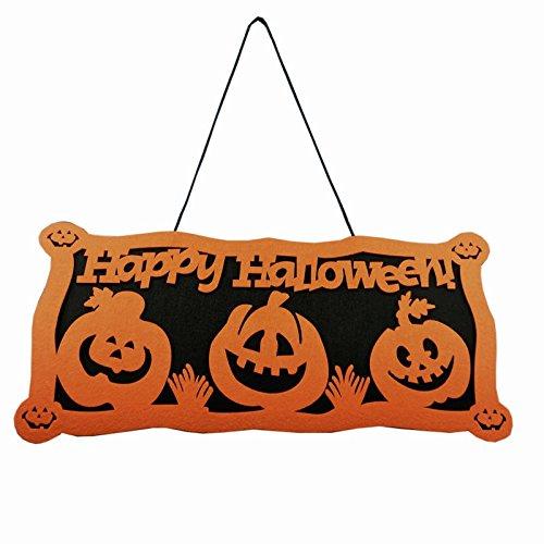 LingStar Halloween Decoration Orange Pumpkin House Decor Doorplate Door hanging Sign (Halloween Decorations Garage Door)