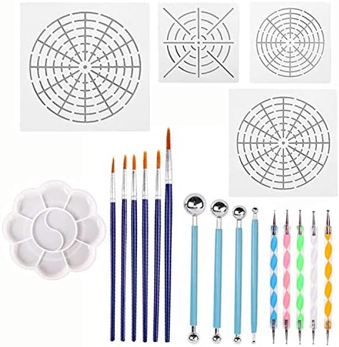36PCS Blue 36Pcs Early Learning Kids Paint Set Sponge Drawing Paint Craft Brushes for Toddlers Assorted Pattern Paint Craft Foam Brushes Waterproof Apron Art Painting Smock Apron with Pocket