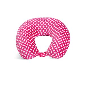 World's Best Feather Soft Microfiber Neck Pillow, Pink Bamboo, Neck-supportive Travel Pillow