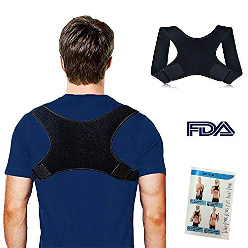 Back Brace Posture Corrector for Men and Women with Adjustable Straps, Pain Relief Correct Poor Posture, Comfortable Upper Back Belt Clavicle Support, Instruction Included(L)