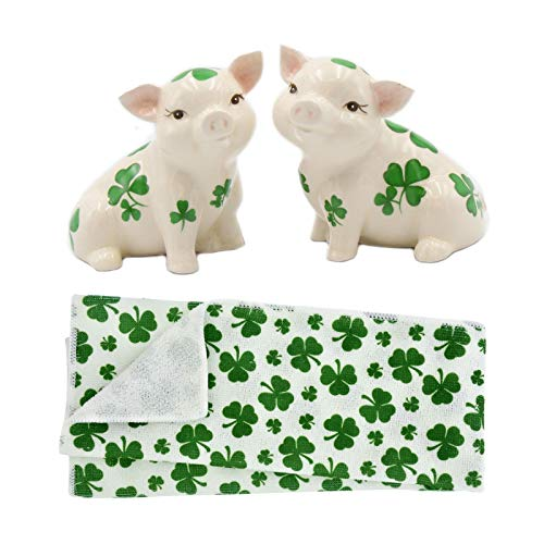 Shamrock Pigs Salt and Pepper Ceramic Shakers with St. Patrick