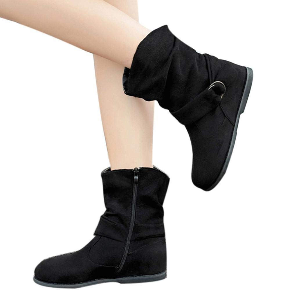 Gyoume Boots Shoes Women Winter Calf Boots Flat Wedge Heel Boots Shoes Slip On Boots Dress Shoes