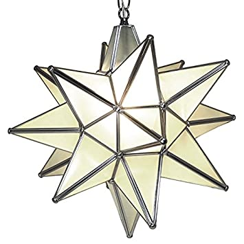 moravian star pendant light frosted glass silver frame 15u0026quot