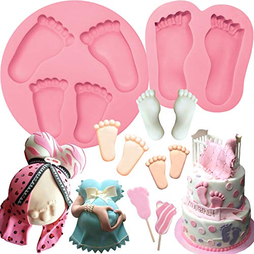 Baby Feet Candy Silicone Molds For Chocolate, Fondant, Cake, Resin, Polymer Clay, Wax, Candle, Soap Assorted sizes 2 Trays Set