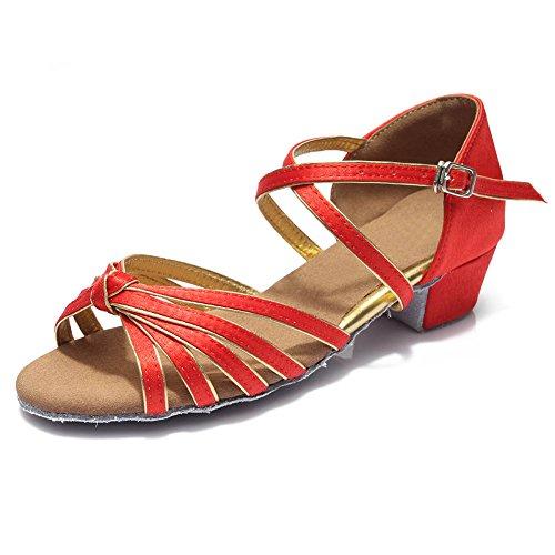 HROYL Zapatos de baile/Zapatos latinos de satín Niñas ES-N03 el rojo