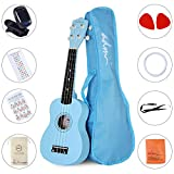 ADM Beginner Ukulele 21 Inch Soprano Kids Starter Pack Bundle with Gig bag Tuner Fingerboard Sticker Chord Card, Blue