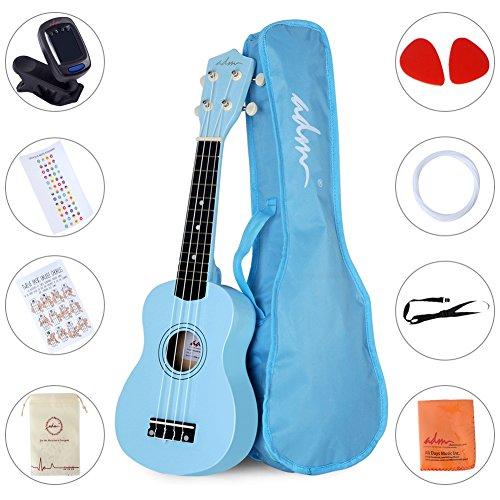 ADM Beginner Ukulele 21 Inch Soprano Kids Starter Pack Bundle with Gig bag Tuner Fingerboard Sticker Chord Card, Blue