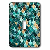 3dRose lsp_279969_1 Image of Close up of Aqua, Gold and Copper Mermaid Scales Toggle Switch, Mixed