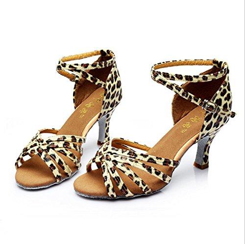 40 pour Color Leopard danse des femmes de latine TMKOO danse Adultes chaussures latino femmes de nouvelles Taille femmes Marron les salon de amp; chaussures chaussures SSPTqRg