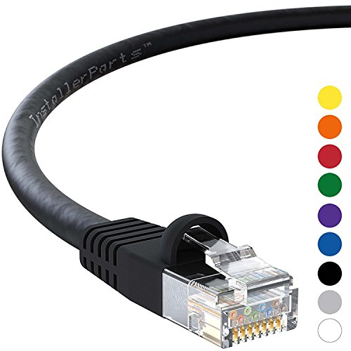 Category 5 Utp Cable - InstallerParts Ethernet Cable CAT5E Cable UTP Booted 150 FT - Black - Professional Series - 1Gigabit/Sec Network/Internet Cable, 350MHZ