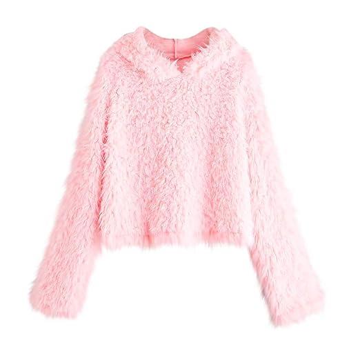 9d0f145cc4 Staron Women Solid Plush Soft Crop Top Casual Long Sleeve Fleece Sweatshirt  Hoodies at Amazon Women s Clothing store