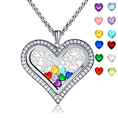 Family Tree of Life Floating Living Memory Love Heart Locket CZ Necklace All 12 Heart Birthstones Include (Necklace Locket Religious)