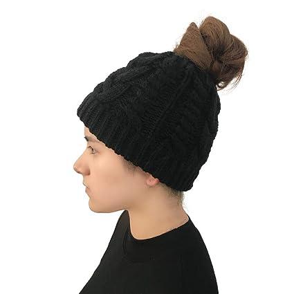 edfadb2ec17 Tpingfe Women Autumn Winter Outdoor Warm Hats Crochet Knit Holey Beanie Cap  (Black)