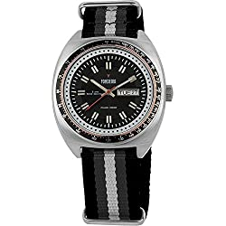 Men's Italian Designed Taxi Driver by Fonderia Stainless Steel Black Dial With Black and Grey Nylon Strap Quartz Watch P-8A004UN1