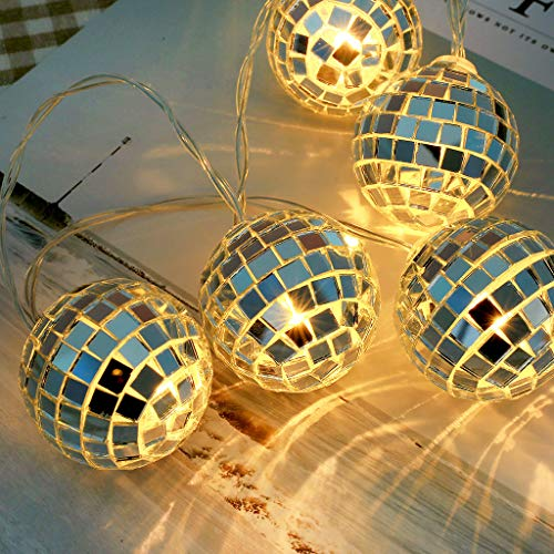 Iulove New 10 LED Glass Patch Ball Glass Ball Light Sequin Ball Decorative Light String