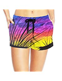 Sunset Beach Board Shorts Hot Swim Trunks With Pockets For Womans White