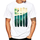 Men's Shirt Short Sleeve Summer Fashion Printing Tees T-Shirt Blouse White
