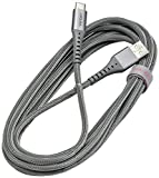 Ventev Chargesync Braided Alloy | A-C Cable, USB Type-C, Rapid Rate Charging Up to 3A, USB-IF Certified, Ultra-Sleek Aluminum Housing, No-Fray Durability, Rapid Charging | 10ft Steel Grey