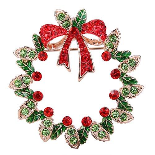 EVER FAITH Womens Crystal Red w/Green Enamel Christmas Mistletoe Flower Wreath Bowknot Brooch