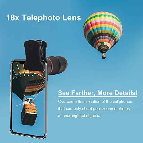 Cell Phone Telephoto Lens, Avanz 2018 Upgraded 18x Zoom Telephoto Lens with Mini Tripod & Universal Clip & Phone Holder, Zoom Lens for iPhone X/8/7/6S/SE, Samsung, iPad, Smartphones by Avanz (Image #6)
