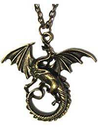 "Fantasy Dragon Bronze Tone Pendant Swirl Tail with Wings 18"" Chain Link Necklace"