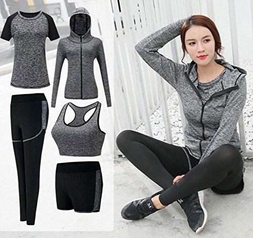 ZETIY Women's 5pcs Sport Suits Fitness Yoga Running Athletic Tracksuits (S, Grey) | Pricepulse