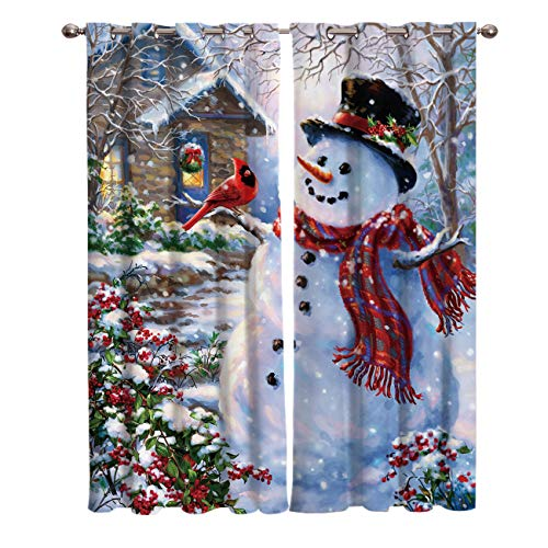 Libaoge Draperies & Curtains Panels for Bedroom Merry Christmas Happy Snowman and Cardinals Window Curtains for Solding Glass Door - Set of 2 Panels, 104