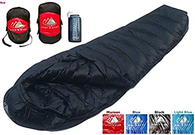 Hyke & Byke Quandary 15 Degree F Ultralight Mummy Down Sleeping Bag for Backpacking with Compression Sack and Five (5) Color Options