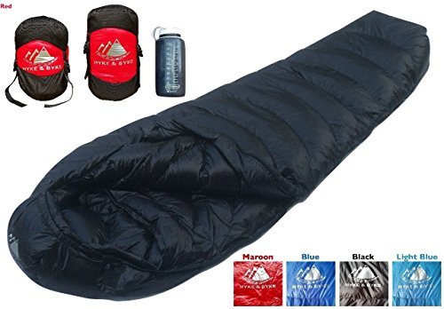 Ultralight Mummy Down Sleeping Bag - 15 Degree 4 Season, Lightweight Design for Backpacking, Thru Hiking, and Camping - Under 2 lbs 14 oz w/ Compression Sack