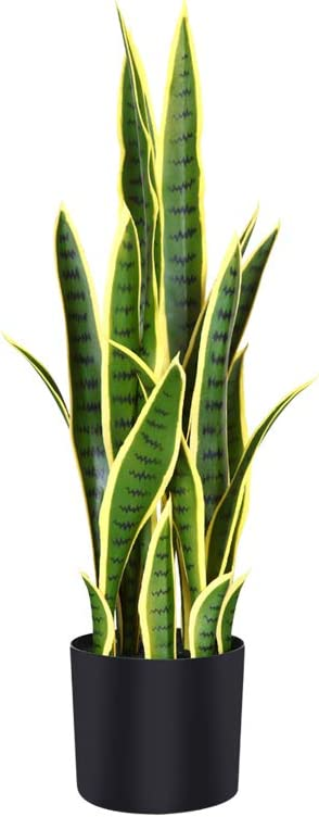 Fopamtri Artificial Snake Plant 30 Inch Fake Sansevieria Trifasciata with 21 Leaves Faux Plant for Indoor Outdoor Feaux Plants in Pot for Home Office Perfect Housewarming Gift(30 Inch, 1 Pack, Yellow)