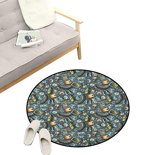 Explore Round Rug ,Cartoon Traveling Pattern with Coins Credit Cards Compass and Roads Doodle Design, Flannel Microfiber Non-Slip Soft Absorbent 47