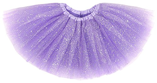 Girl's Princess Layered Dress-Up Tulle Tutu Skirt w/ Sparkling Sequins,Purple