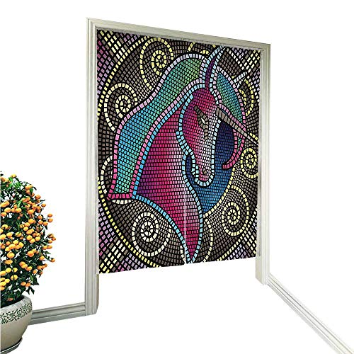 Tile Art Panel Mosaic - QianHe Noren Doorway CurtainUnicorn Figure with Mosaic Art Tile Effects Girlish Creature Display Print Multicolor Hand or Machine wash in Cold Water 33.5