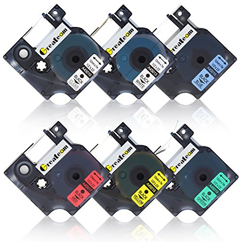 outlet Greateam 6 Pack Combo Set Standard D1 Labeling Tapes