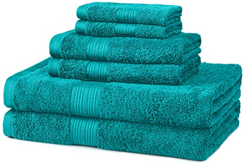 AmazonBasics Fade-Resistant 6-Piece Cotton Towel Set