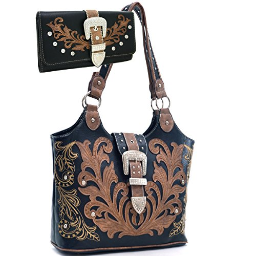 Hand Embroidered Shoulder Bag (Western Rhinestone Buckle Embroidered Purse Handbag With Bonus Wallet - Brown)