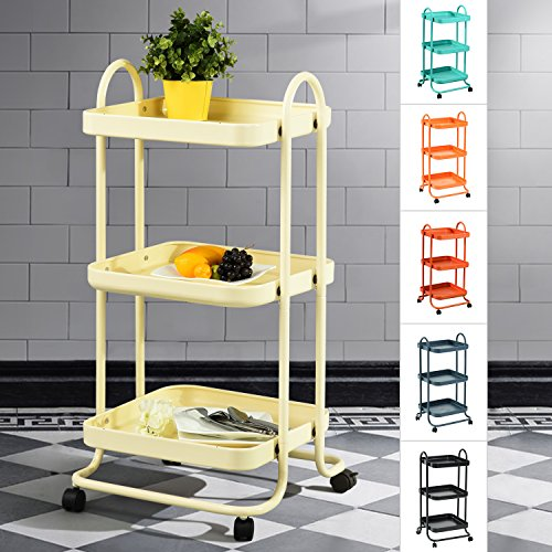 3-Tier Metal Utility Service Rolling Handle Storage Kitchen Office Medicine Trolley Kid Room Cart with wheels in Beige