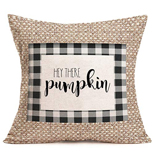 Pumpkin Pillow Covers Vintage Fall Decor Cotton Linen Fabric Printed Burlap Effect Buffalo Plaids Throw Pillow Cases Decorative Family Outdoor Cushion Cover 18