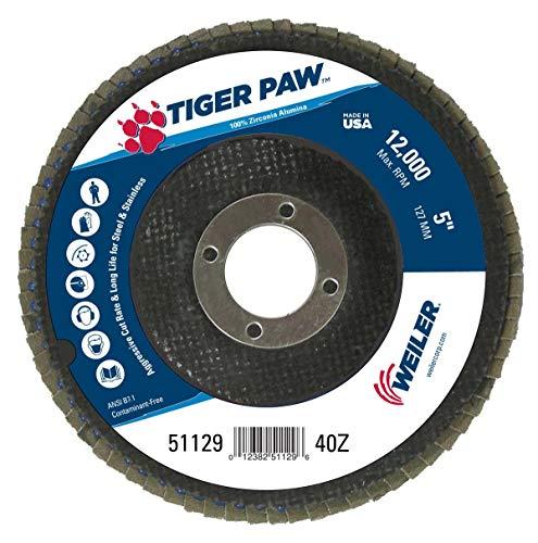 Weiler 51129 Tiger Paw High Performance Abrasive Flap Disc, Type 29 Angled Style, Phenolic Backing, Zirconia Alumina, 5