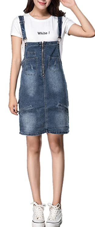 Women's Summer High Waist Stretch Blue Suspender Denim Short Skirt With Pockets by Skirt Bl